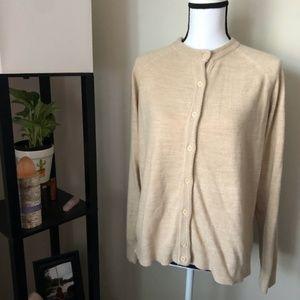 *KAREN SCOTT* Tan Button Down Cardigan Sweater Top